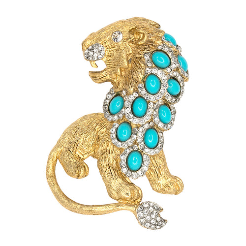 Turquoise & Gold Lion Pin