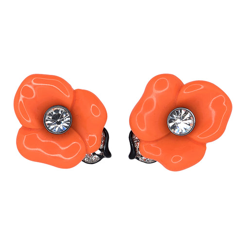Coral Flower Clip Earrings