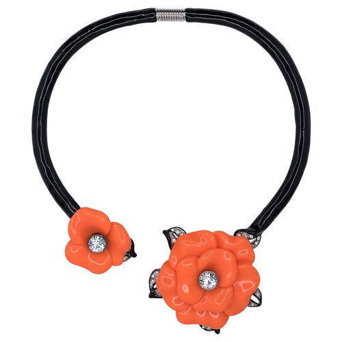 Black Collar Necklace With Coral Flowers