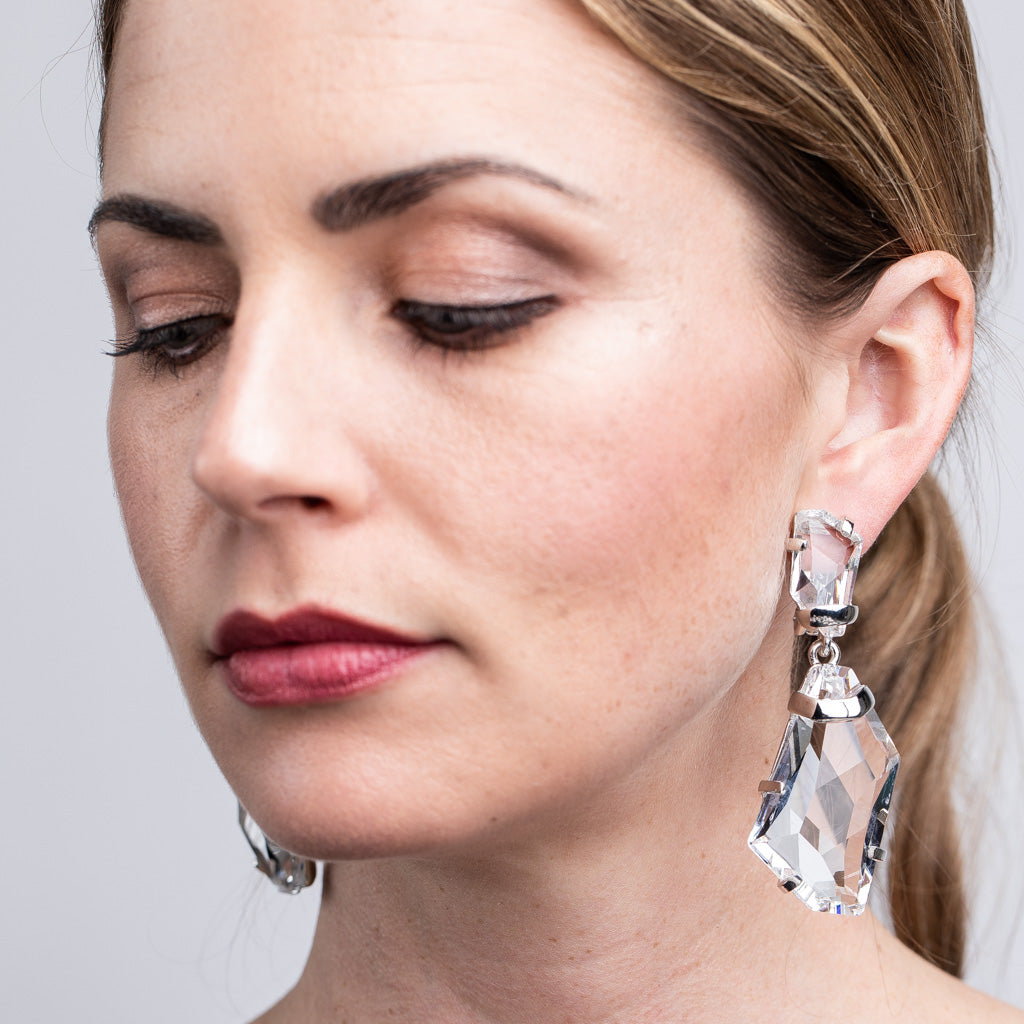 Fancy Crystal Stone Drop Clip Earrings