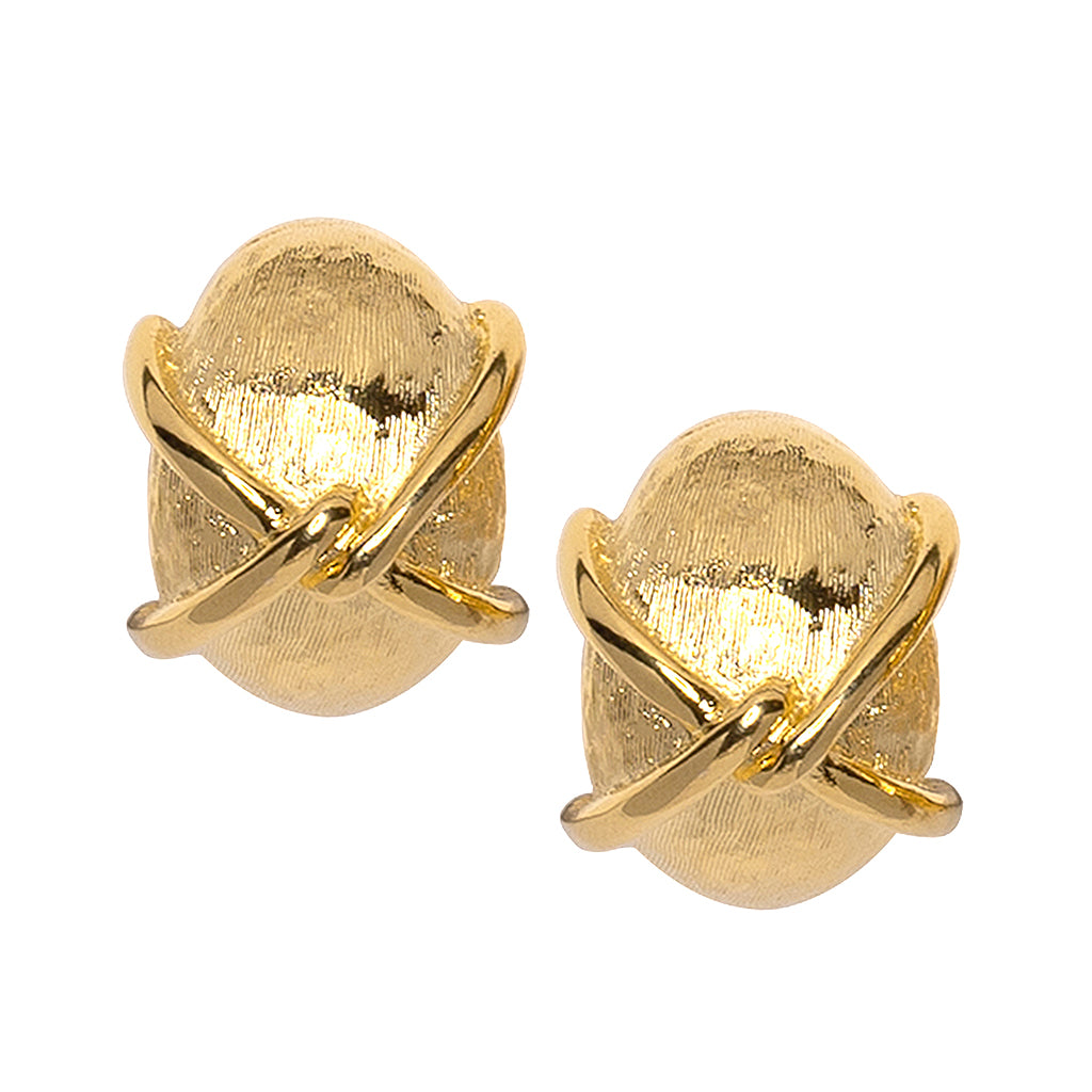"""X"" Gold Button Clip Earring"