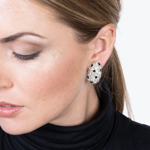 Silver, Crystal & Jet Pave Thumbnail Clip Earrings