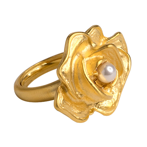 Flower & Pearl Ring