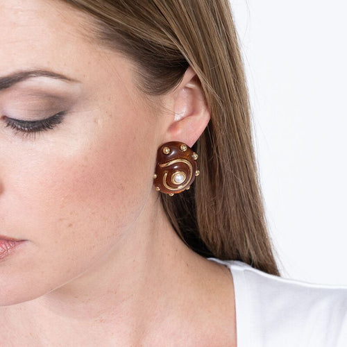 Tortoise with Gold Dots and Pearl Center Snail Clip Earrings