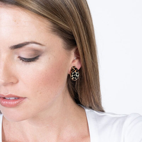 Black & Beige Leopard Half Hoop Earrings