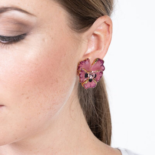 Indian Pink Enamel with Pink Center Flower Clip Earrings