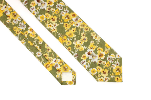 Green and Gold Floral Tie