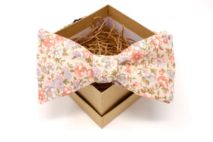 Pink and Peach Pastel Floral Bow Tie