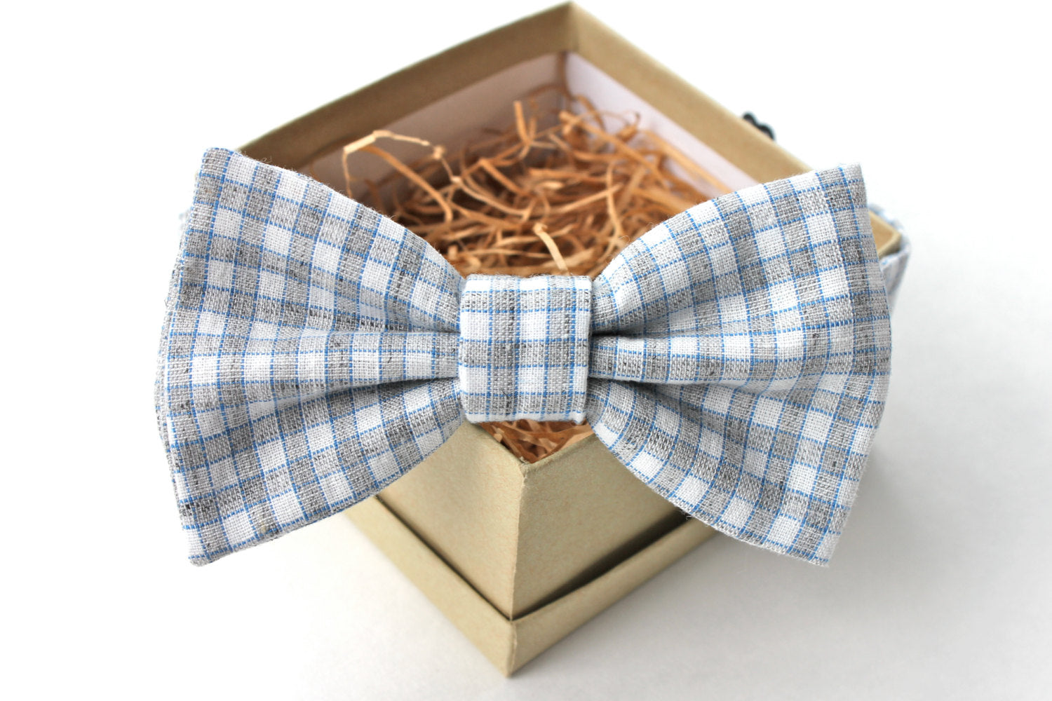 Grey Gingham Bow Tie