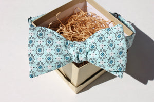 Aqua and Cerulean Print Bow Tie