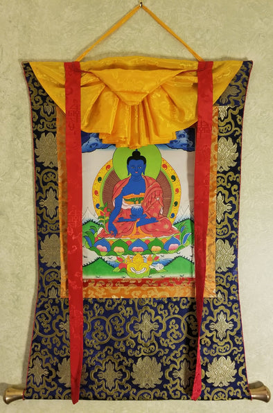 Hand painted Medicine or Healing Buddha Thangka