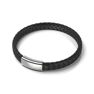Silver | Black Leather Engravable Bracelet | Thin
