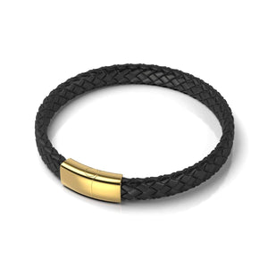 18k Gold | Black Leather Engravable Bracelet | Thin