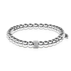 Mesmerizing | Silver | Crystal Pave Expression Bracelet | Engravable