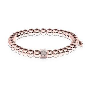 Mesmerizing | 18k Rose Gold | Crystal Pave Expression Bracelet | Engravable