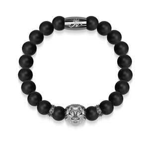 Gunmetal Lion | Matte Black Agate | Kingdom Bead Bracelet | Engravable