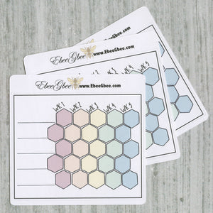 5 WEEK TRACKER set of 3 Hand Drawn Large Box Note Page Planner Stickers