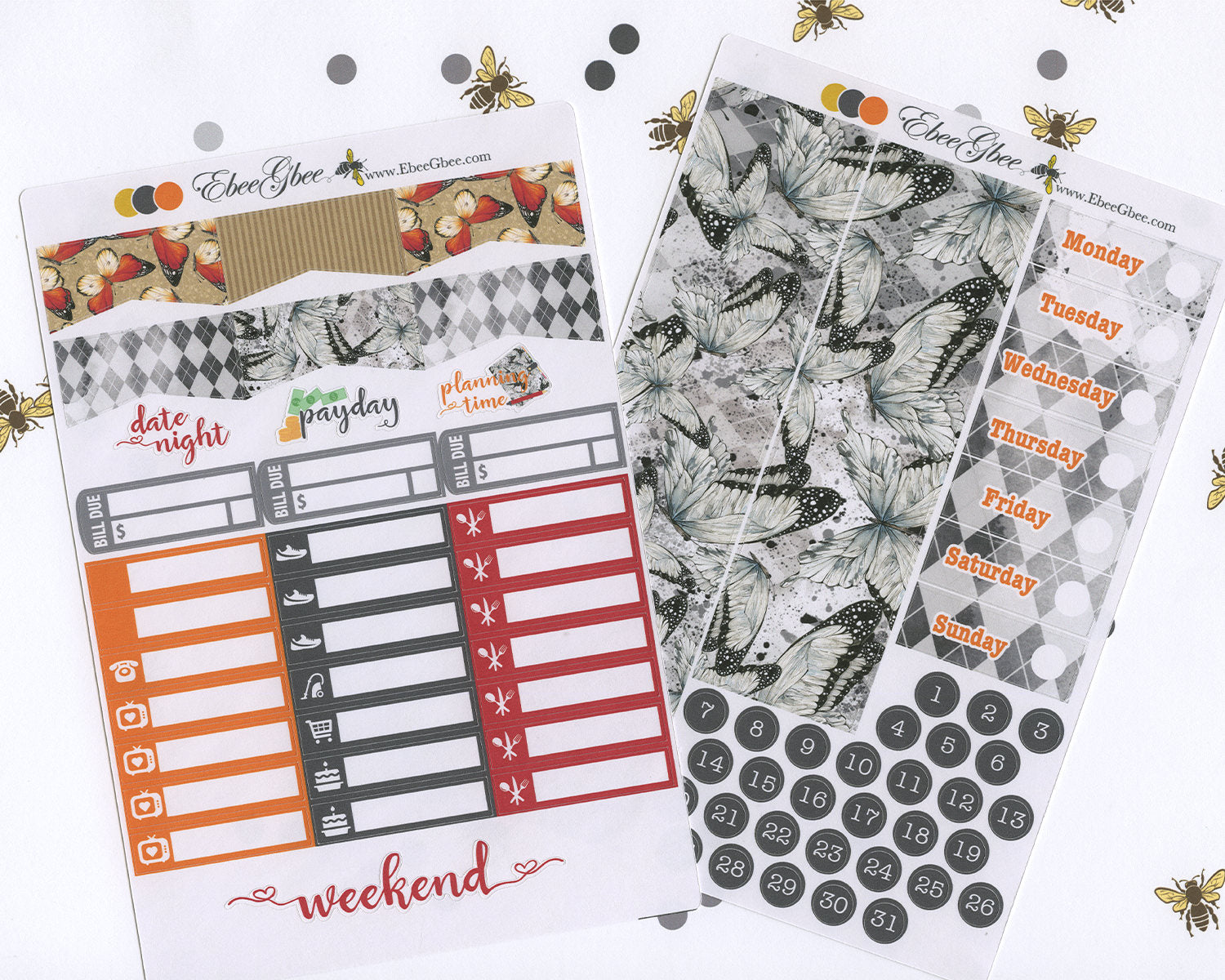 BUTTERFLY DELUXE Weekly Planner Sticker Set | Sunset Storm Gold