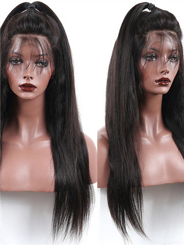 Brazilian Straight Lace Front Human Hair Wigs Non-Remy Pre-Plucked With Baby Hair - FashionLoveHunter