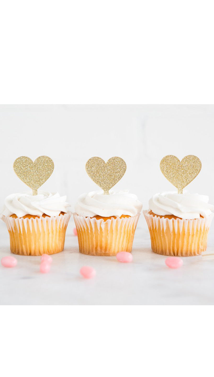 Gold Glitter Heart CupCake Topper