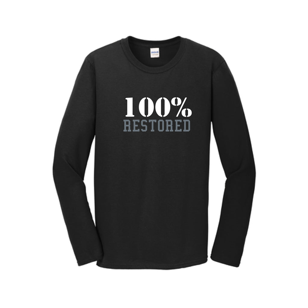 T-Shirt: 100% Restored - Adult Black