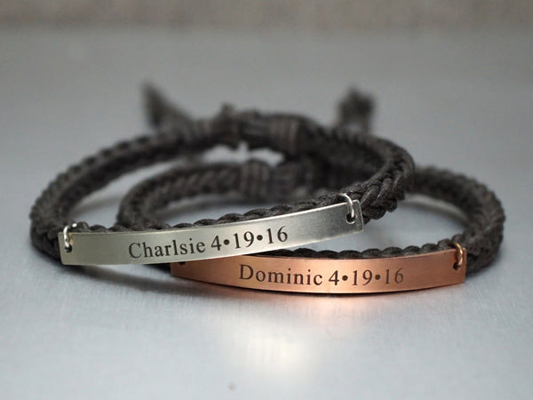 Matching Couple Bracelets, Name Anniversary Date Bracelets, His and Her Bracelets