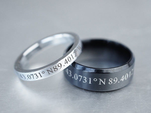 Custom Coordinate Rings For Couples, Matching Couple Rings,Latitude Longitude