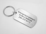 Emergency Contact Keychain, Phone Number, Children Emergency Accessory, Kid ID, Dog Tag Key Chain