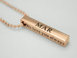 Love You Necklace, Rose Gold Pendant Necklace, Custom Name Necklace