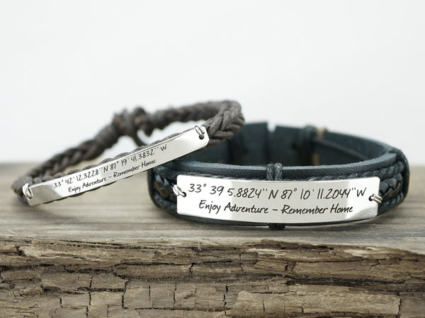 Matching Couple Bracelets, Custom Coordinates Bracelet, Long Distance Relationship