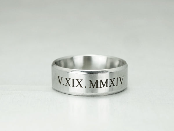 Roman Numeral Ring for Men, Custom Date Engraved Ring, Silver Wedding Ring, Anniversary Ring