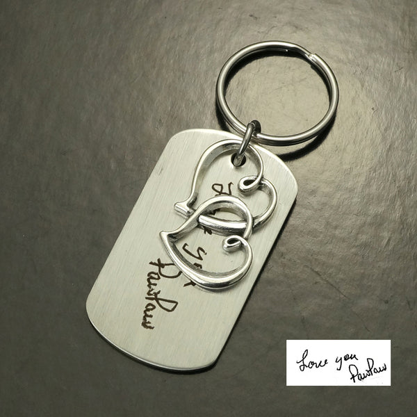Love PawPaw Handwriting Keychain, Signature & Double Hearts Keychain, Christmas Gift for grandfather