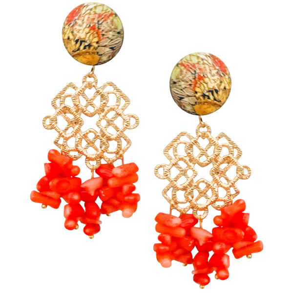 Halcyon & Hadley Indochine Statement Earrings with Natural Coral - Women's Earrings - Women's Jewelry - Unique Earrings - Statement Earrings
