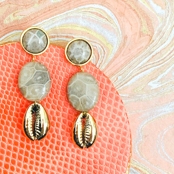 Halcyon & Hadley Fossil Coral Statement Earrings with Gold Cowrie Shells - Women's Earrings - Women's Jewelry - Unique Earrings - Statement Earrings