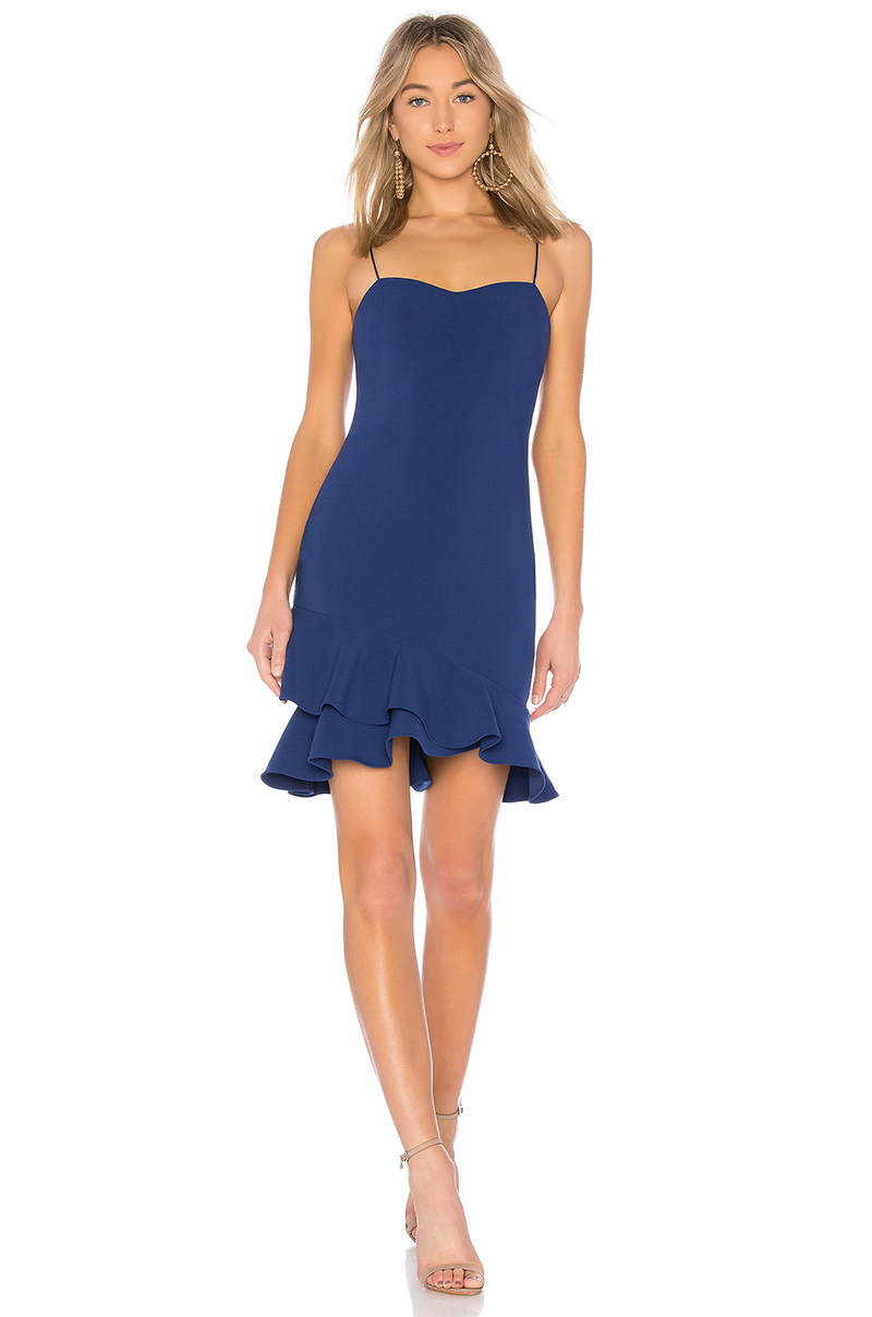 LIKELY Cocktail Dress with Ruffle Hem Blue. Robe bleu à volants
