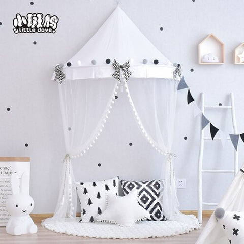 black white star Children's tent indoor Nordic ins girl princess half moon bed draperies children reading corner  - Lollabuy