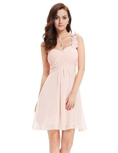 Women's Cocktail Pink Chiffon Short Elegant Ever Pretty A Line One Shoulder Special Occasion Dress