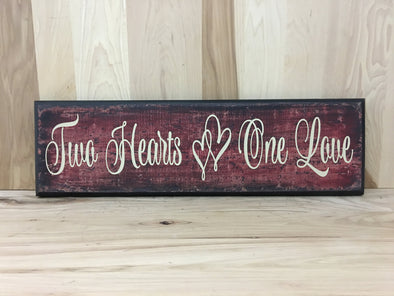 Two hearts one love wood sign for wedding gifts.