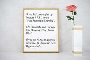 If you fail, never give up digital download art print.