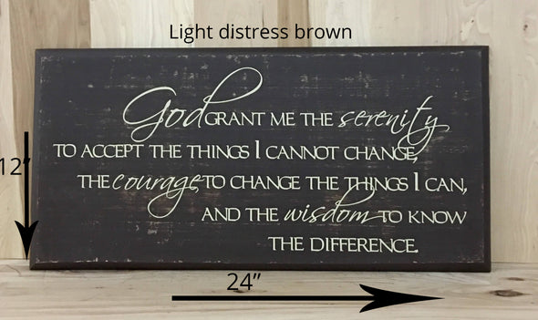 12x24 light distress brown religious wood sign with cream lettering.