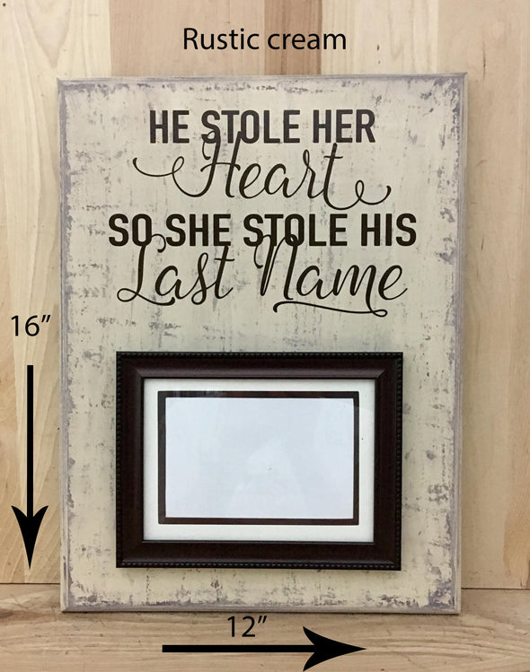 12x16 rustic cream sign with picture frame and brown lettering for wedding gifts.