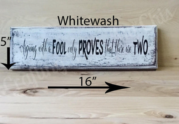 16x5 whitewash wood sign with black lettering