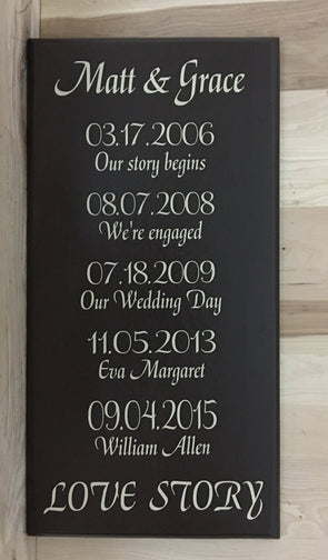 Love story wood sign with names and dates of family members.