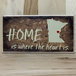 Home is where the heart is personalized state wood sign.