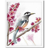 watercolor art print of a bird sitting on a branch with pink flowers - flavia bernardes art