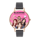 BLACKPINK Leather Strap Quartz Watch