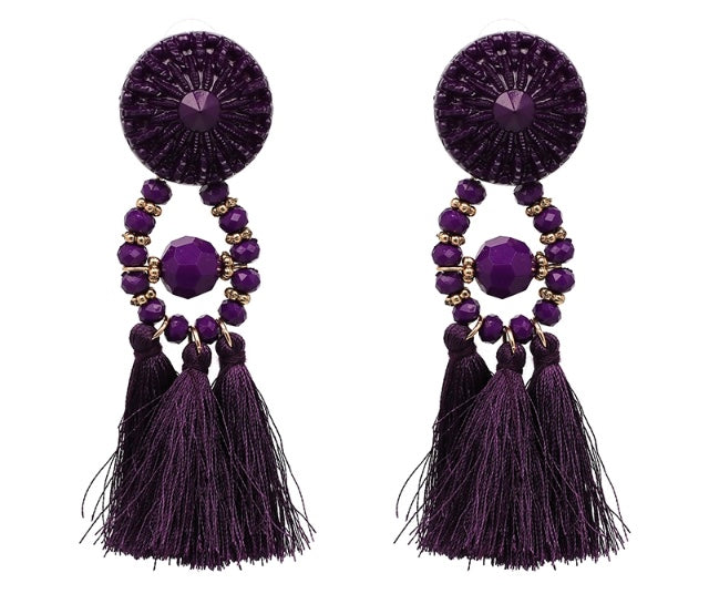 (Anna) Plum Tassle Earrings
