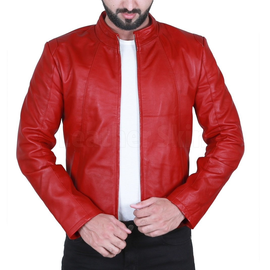 Dashing Red Biker Leather Jacket