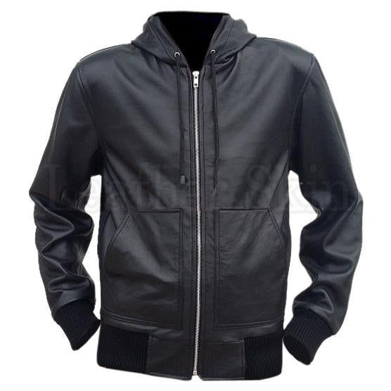 Leather Skin Men Black Hooded Hoodie Genuine Leather Jacket