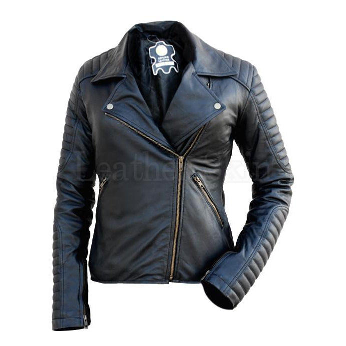 NWT Black Brando Padded Shoulder Sleeves Women Genuine Real Pure Leather Jacket